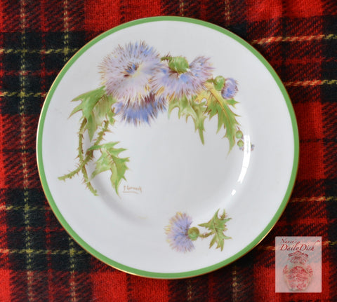 Antique Scottish Glamis Thistle Bread Plate Green & Lavender Artist Signed Royal Doulton