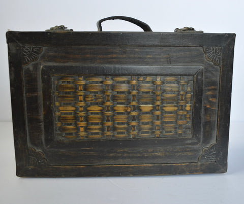 Vintage Wood Carrying Case / Suitcase / Briefcase - Leather Handle -  Brass & Rattan Bamboo Design