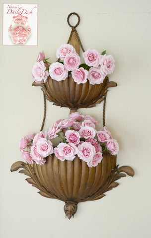 Antique Tole Italian Double Wall Pocket Planter Acanthus Leaf Sconce Wall Vases Flower Pots