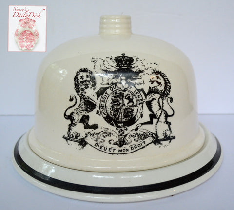 Antique Dairy Slab Advertising English Transferware Cheese Bell & Plate British Coat of Arms