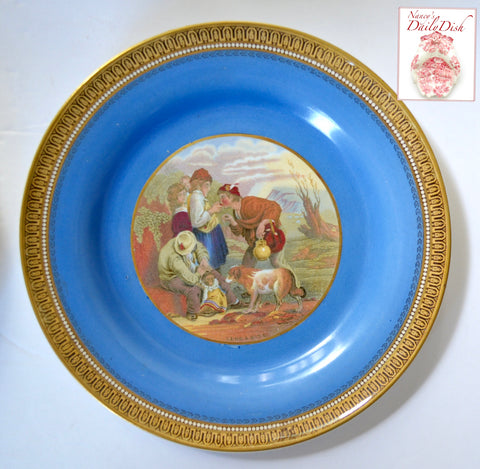"Antique Blue Border Pratt Ware Transferware Plate Gilt & Blue Border ""Lend A Bite"""