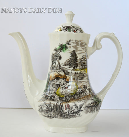 Vintage Brown Transferware Harvest Scene Tall Tea pot or Coffee Pot Boy Resting atop Hay in Horse Drawn Wagon