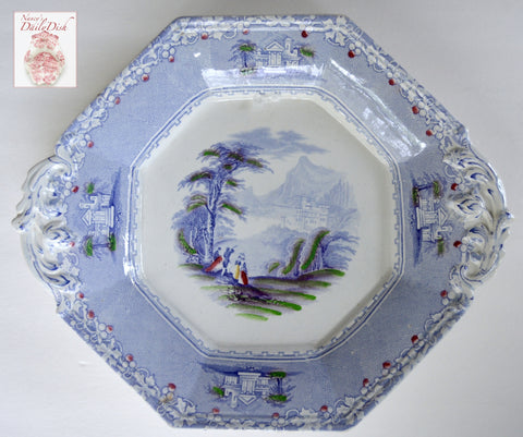 Periwinkle Antique Stone China English Transferware Handled Octagon Platter Jenny Lind / hand painted