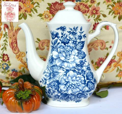 Vintage Blue & White Daisies & Roses English Transferware Tall Coffee / Tea Pot Avondale
