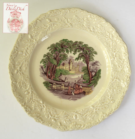 Masons Vista Purple Aubergine Polychrome Transferware CreamWare Scenic Plate Dog Park Couples RARE Embossed Oak Leaf & Acorn Border