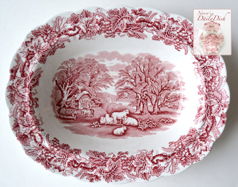 Grazing  Sheep Vintage Red Transferware Rimmed Serving Vegetable Bowl - Grapes Vines - Farm Scene Cottage British Scenery