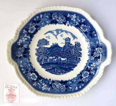 Tab Handled Square Blue Transferware Platter Horses in Pasture Castle w/ Rose Border