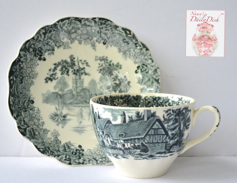 Vintage Black Transferware Teacup & Saucer Romantic England Meakin English Scenery