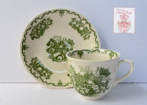 Mason's Green Transferware Fruit Basket Teacup & Saucer
