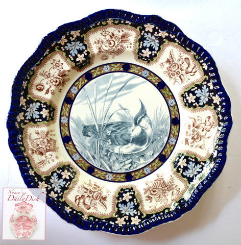 Spode Copeland Upland No. 7 Plover Game Birds Enameled Clobbered Antique 2 Color Transferware Plate