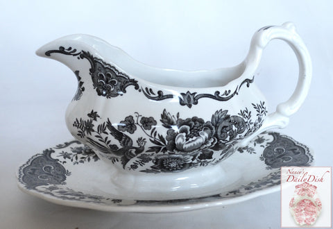 Ridgway Black English Transferware Toile Gravy Boat & Attached Plate Roses Birds Windsor Asiatic Pheasants