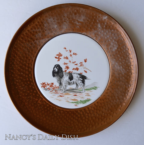 Vintage Springer Spaniel English Setter Dog Plate Plate in Hammered Copper Frame