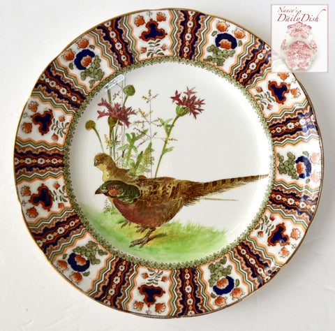 Antique Royal Doulton Clobbered Transferware Pheasant Plate Game Bird
