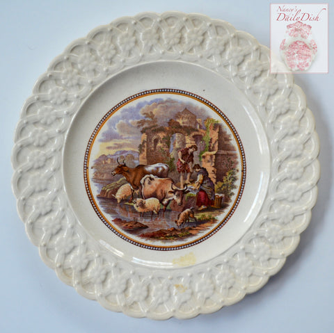 Antique Prattware Cattle & Sheep / Washing by the River Scene Brown Transferware Plate Relief Border