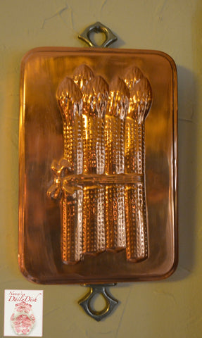 Vintage Copper Vegetable Mold Asparagus w/ Riveted Brass Hanging Hook