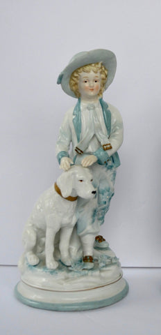 Vintage French Country Figurine Boy and His Dog Pale Blue