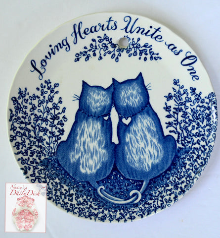 Romantic Love Blue Cats Transferware Plaque English Ironstone Loving Hearts Unite As One