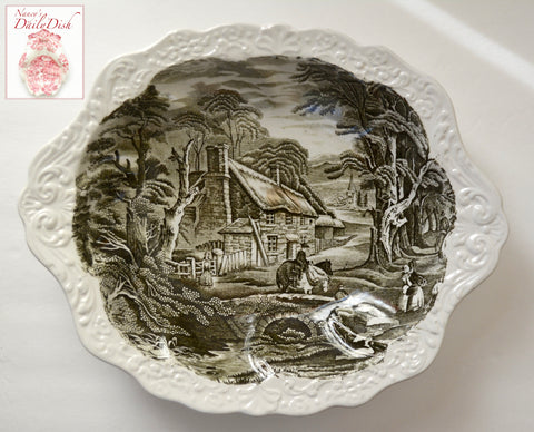 Black English Transferware Ironstone Embossed Handled Serving Bowl Horse Rural Scenery