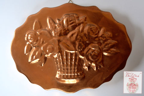 Vintage Scalloped Copper Mold Basket of Roses Flowers w/ Riveted Brass Hanging Hook