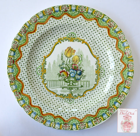 HTF Antique Green Multicolor Transferware Plate Spode Copeland Ornate Urn of Spring Tulips & Flowers
