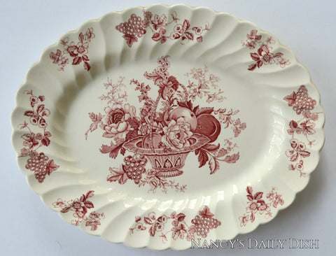 Vintage Red Toile  English Transferware Platter Bountiful Victorian Basket of Fruits & Flowers