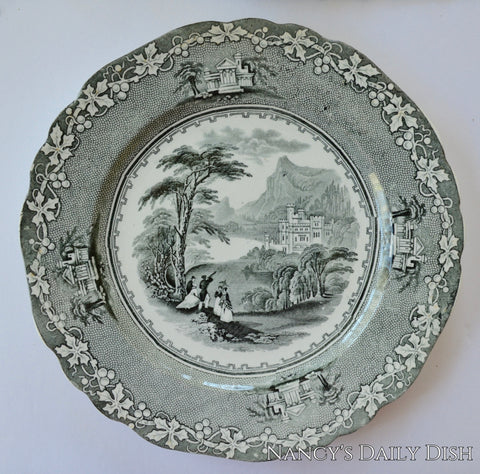 Hall Potteries Jenny Lind Black Transferware Plate Mountains Castle Victorian Couples Peering Through Telescope