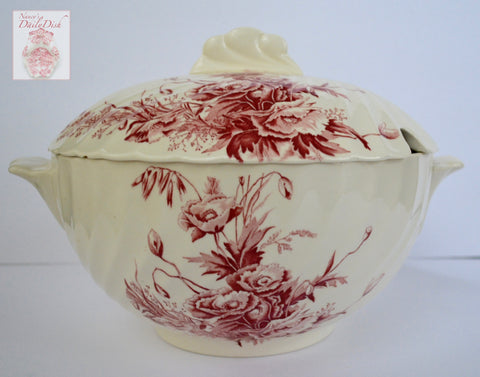 Rare Clarice Cliff Toile Red Transferware Soup Tureen  Harvest Poppies