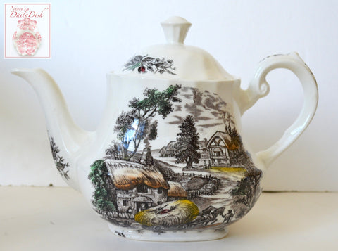 Vintage Brown Transferware Teapot Boy Resting atop Hay in Horse Drawn Wagon Harvest Scene