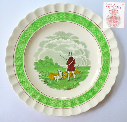 #2 Multicolor Bright Green Transferware Plate J F Herring English Hunt Scene w/ Basket Weave Border