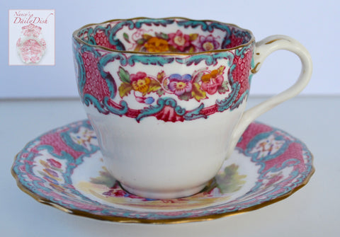 Pink & Aqua Blue Copeland Spode Vintage Transferware Demitasse Cup & Saucer Hand Painted Flowers and Scene