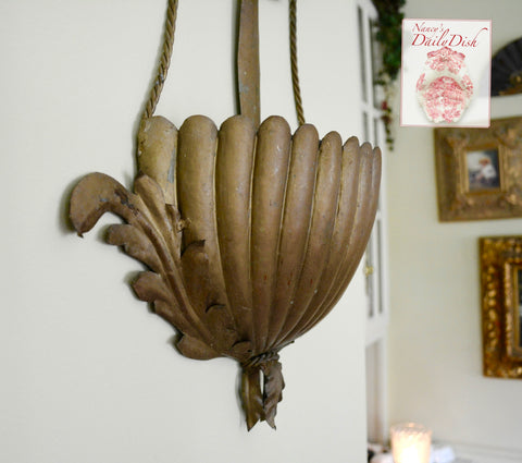Antique Tole Italian Double Wall Pocket Planter Acanthus Leaf Sconce W