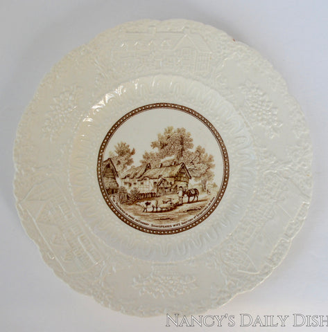Vintage Creamware Brown Transferware Plate Sheep Horse Cow Cottage Embossed Border