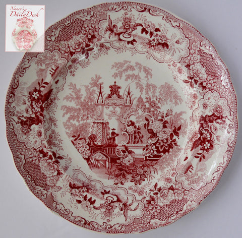 Antique 19th Century Red Transferware Plate Sicilian European Scenery Lace & Floral Border