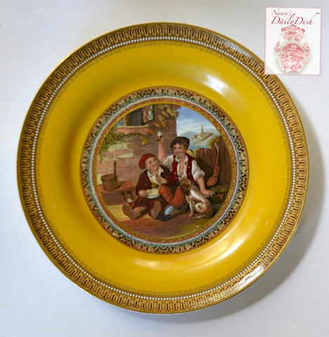 Antique Peasants & Dog Prattware Brown Transferware Plate  Mustard Yellow Border