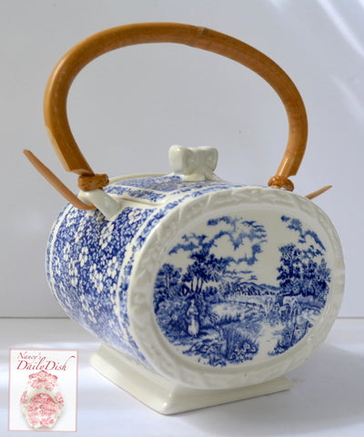 Blue Chintz Calico Transferware Biscuit Barrel w/ Original Bamboo Handle Grazing Cattle Cows