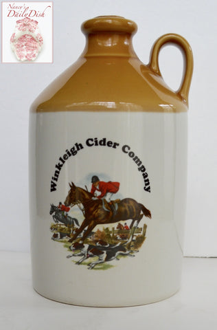 Vintage Winkleigh Cider Company - Devon UK -  MADE IN ENGLAND - Hunt Scene JUG DECANTER / FLAGON