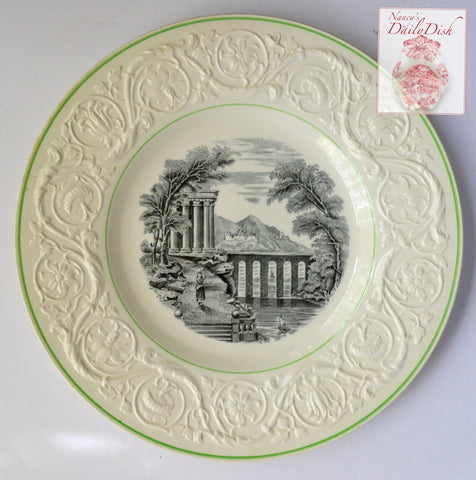 Vintage Wedgwood Black Transferware Charger Plate Italian Seaside Country Scenes Embossed Sunflower Border