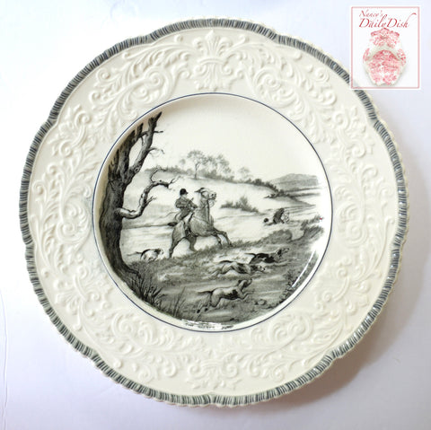 "English Hunting Scene ""The Water Jump"" Transferware Charger Platter Embossed Border"