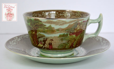 Rare Silver Overlay Mountain Scene Poly Brown Transferware Cup & Saucer Pastoral Jenny Lind