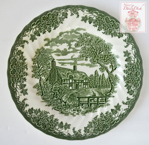 Green Transferware Plate English Cottage on Stream with Tennyson Poem Ivy & Grapes Border