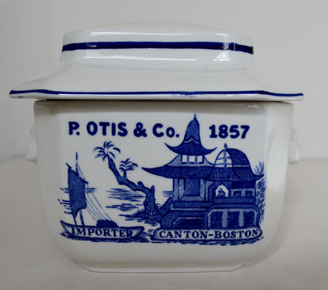Blue Willow Staffordshire Advertising Transferware Tea Caddy Figural Face Shaped Handles Lidded Jar