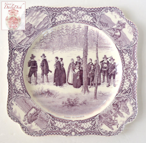 Purple Aubergine Transferware Square Shape Plate Colonial Times - Going to Church - Historical - Pilgrim / Thanksgiving Dinnerware