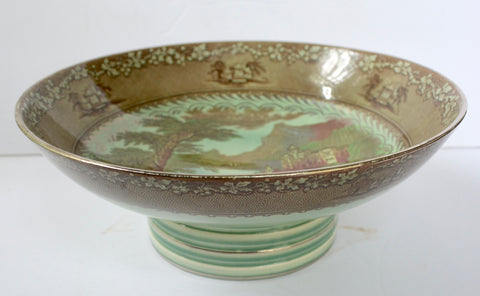 RARE Art Deco Royal Staffordshire Silver Overlay Footed Compote Bowl Brown Transferware Jenny Lind