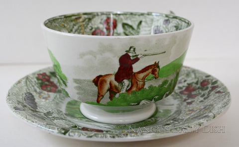 RARE Green Polychrome Transferware Teacup & Saucer English Pheasant Hunt & Fly depictsFishing Scene by Spode Copeland Field Sports