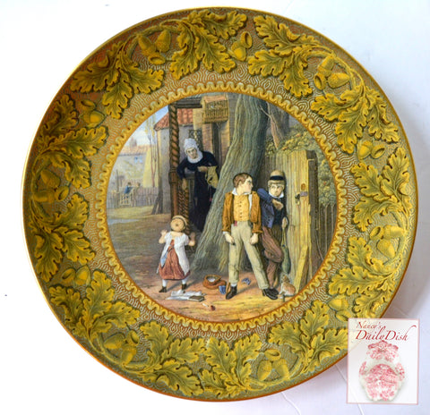 Antique Prattware Transferware Plate The Wolf & The Lamb w/ Gold Acorns Oak Leaf Border