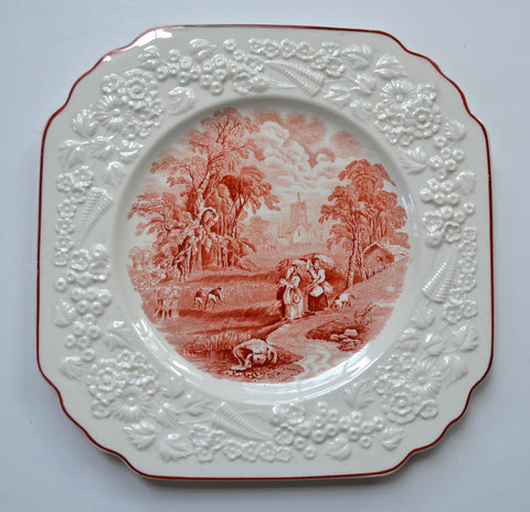 Antique George Jones Harvesting Hay English Transferware Brick Red Square Plate Embossed Floral Border