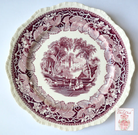 Masons Vista Purple Transferware Scenic Plate Dog Park Couples HTF