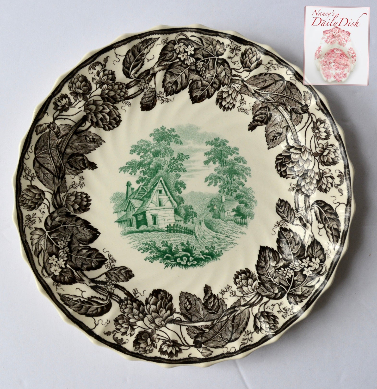 copeland spode rural scenes bi color brown green transferware plate tudor cottage hops border