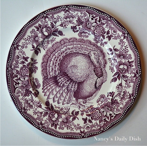 Thanksgiving Tom Turkey English Transferware Aubergine Purple Plate Tonquin Clarice Cliff  Roses Autumn Foliage Royal Staffordshire