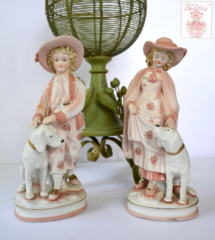 Pair Vintage Parisian French Country Figurines Boy & Girl w/ Dogs Coral Pink Hand Painted